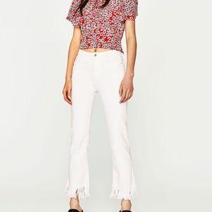 Zara white jeans flared frayed hem